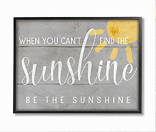 Be the Sunshine Positivity Phrase 24x30 Black Frame Wall Art, Gray, large