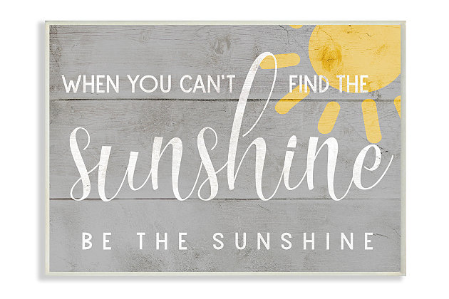 Be the Sunshine Positivity Phrase 10x15 Wall Plaque, Gray, large