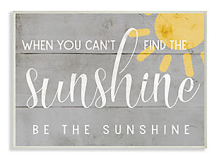 Be the Sunshine Positivity Phrase 13x19 Wall Plaque, Gray, large