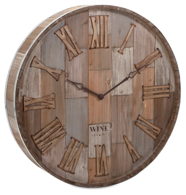 Home Accents Wine Barrel Wood Wall Clock by Ashley HomeSt...