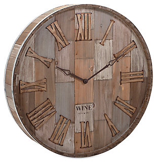Home Accents Wine Barrel Wood Wall Clock, , large