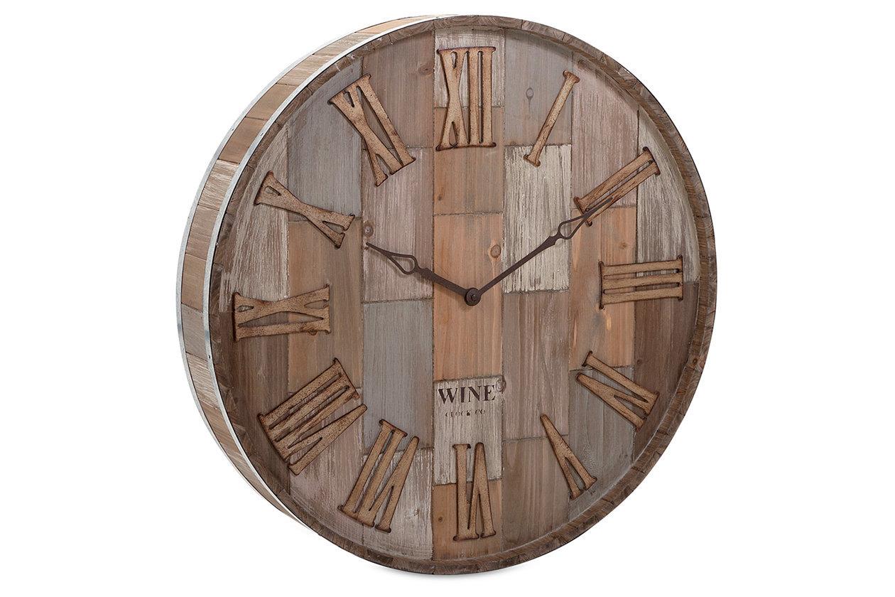 Wall clocks tell the time in style ashley furniture homestore home accents wine barrel wood wall clock large amipublicfo Gallery