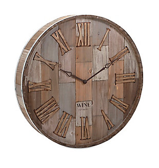 Home Accents Wine Barrel Wood Wall Clock, , rollover