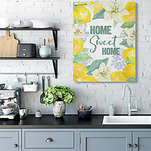 Home Sweet Home Summer Floral and Lemon 36x48 Canvas Wall Art, Yellow, rollover