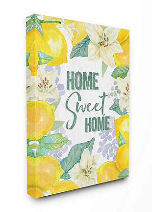 Home Sweet Home Summer Floral and Lemon 36x48 Canvas Wall Art, Yellow, large