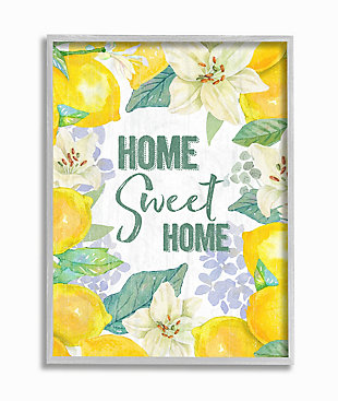 Home Sweet Home Summer Floral and Lemon 16x20 Gray Frame Wall Art, Yellow, large