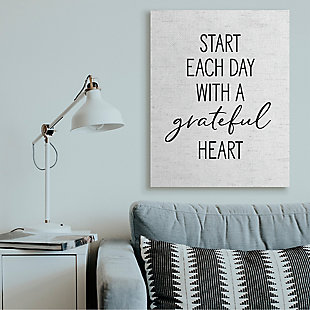 Start Each Day with a Grateful Heart 36x48 Canvas Wall Art, White, rollover
