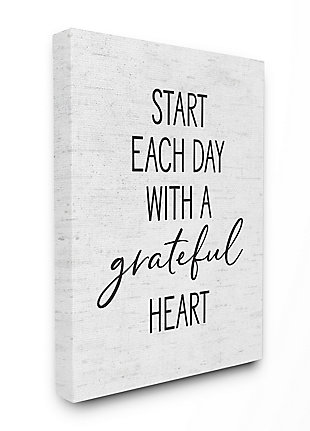 Start Each Day with a Grateful Heart 36x48 Canvas Wall Art, White, large