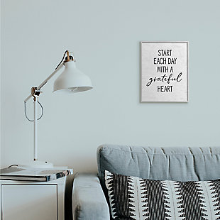 Start Each Day with a Grateful Heart 11x14 Gray Frame Wall Art, White, rollover