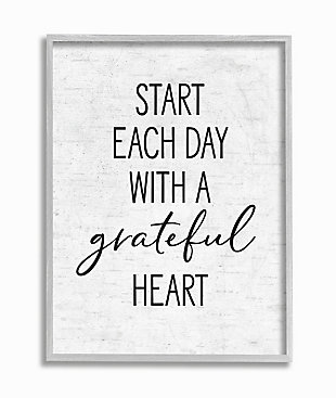 Start Each Day with a Grateful Heart 11x14 Gray Frame Wall Art, White, large