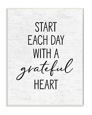 Start Each Day with a Grateful Heart 13x19 Wall Plaque, White, large