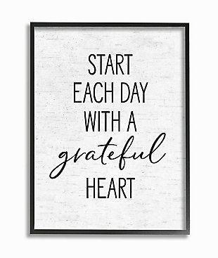 Start Each Day with a Grateful Heart 24x30 Black Frame Wall Art, White, large