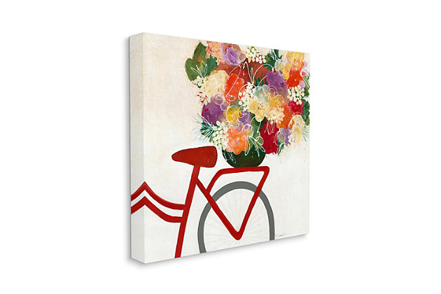 Bicycle Seat Floral Bouquet 30x30 Canvas Wall Art, Multi, large