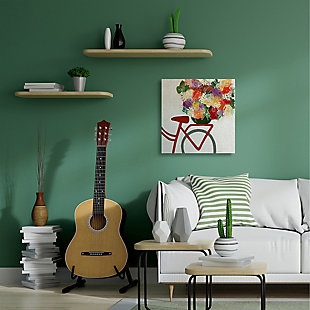 Bicycle Seat Floral Bouquet 36x36 Canvas Wall Art, Multi, rollover
