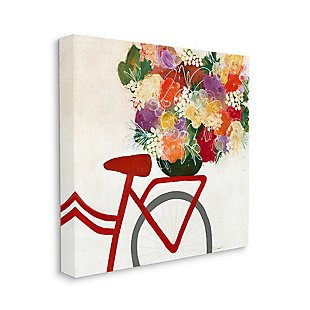 Bicycle Seat Floral Bouquet 36x36 Canvas Wall Art, Multi, large