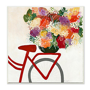 Bicycle Seat Floral Bouquet 12x12 Wall Plaque, , large