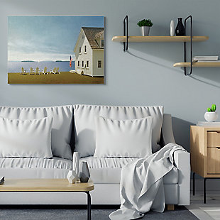 Americana Cape House Coastal Landscape 36x48 Canvas Wall Art, Blue, rollover