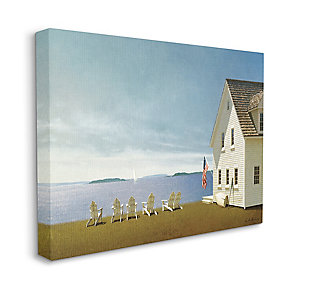Americana Cape House Coastal Landscape 36x48 Canvas Wall Art, Blue, large