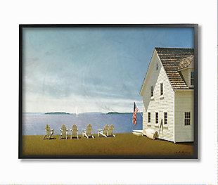 Americana Cape House Coastal Landscape 11x14 Black Frame Wall Art, Blue, large