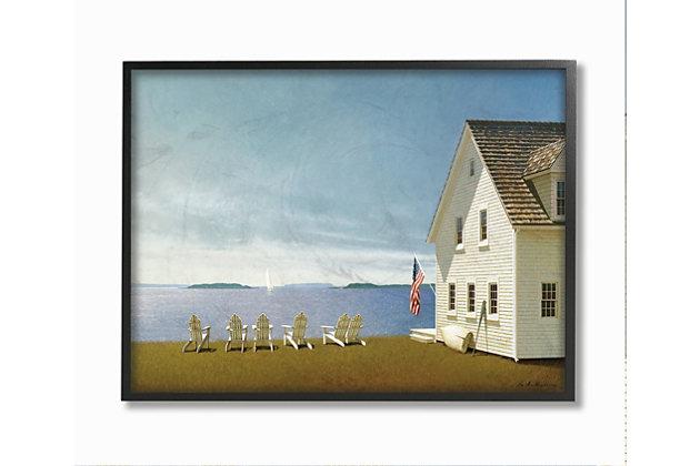 Americana Cape House Coastal Landscape 24x30 Black Frame Wall Art, Blue, large