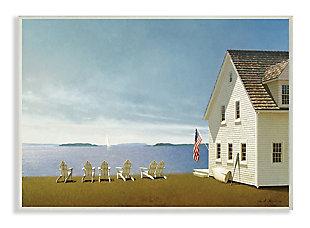 Americana Cape House Coastal Landscape 13x19 Wall Plaque, Blue, large
