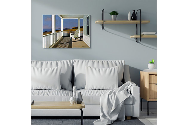 Cottage Porch Scene at Sunset 30x40 Canvas Wall Art, Blue, large