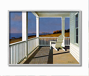 Cottage Porch Scene at Sunset 16x20 Gray Frame Wall Art, Blue, large
