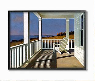 Cottage Porch Scene at Sunset 24x30 Black Frame Wall Art, Blue, large