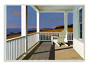 Cottage Porch Scene at Sunset13x19 Wall Plaque, Blue, large