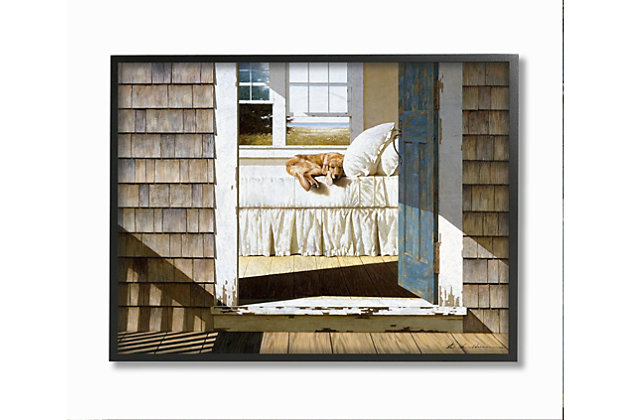 Dog Nap at Cape House 24x30 Black Frame Wall Art, Brown, large