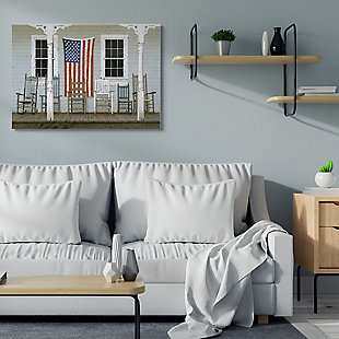 Distressed Rocking Chair Porch Americana 36x48 Canvas Wall Art, Multi, rollover