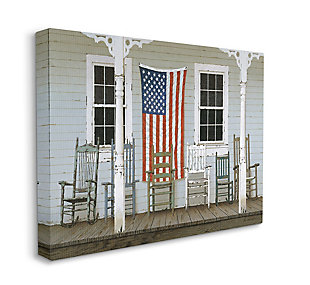 Distressed Rocking Chair Porch Americana 36x48 Canvas Wall Art, Multi, large