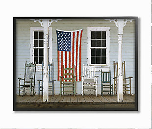 Distressed Rocking Chair Porch Americana 24x30 Black Frame Wall Art, Multi, large