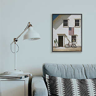 Americana Cape House Front 24x30 Black Frame Wall Art, White, rollover