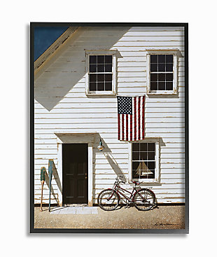 Americana Cape House Front 24x30 Black Frame Wall Art, White, large