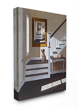 Dog Infront of Pet Portrait 36x48 Canvas Wall Art, White, large
