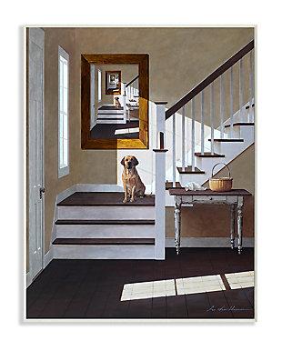 Dog Infront of Pet Portrait 13x19 Wall Plaque, White, large