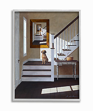 Dog Infront Of Pet Portrait 16x20 Gray Frame Wall Art, White, large