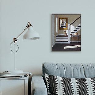 Dog Infront Of Pet Portrait 24x30 Black Frame Wall Art, White, rollover