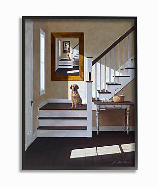 Dog Infront Of Pet Portrait 24x30 Black Frame Wall Art, White, large