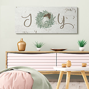 Country Inspired Joy Winter Wreath 20x48 Canvas Wall Art, White, rollover