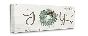Country Inspired Joy Winter Wreath 20x48 Canvas Wall Art, White, large