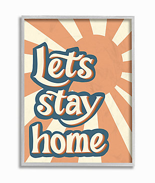Let's Stay Home Summer Sun 11x14 Gray Frame Wall Art, , large