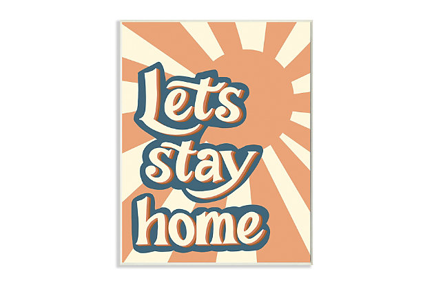 Let's Stay Home Summer Sun 10x15 Wall Plaque, Orange, large