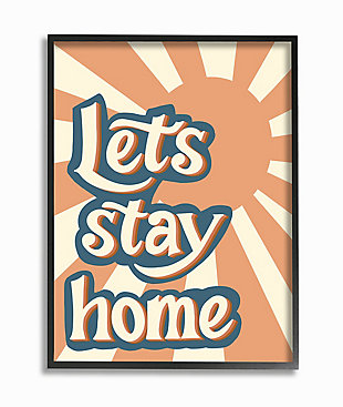 Let's Stay Home Summer Sun 24x30 Black Frame Wall Art, , large