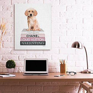 Adorable Puppy Sitting on Glam Fashion Books 36x48 Canvas Wall Art, White, rollover
