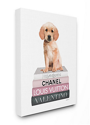 Adorable Puppy Sitting on Glam Fashion Books 36x48 Canvas Wall Art, White, large