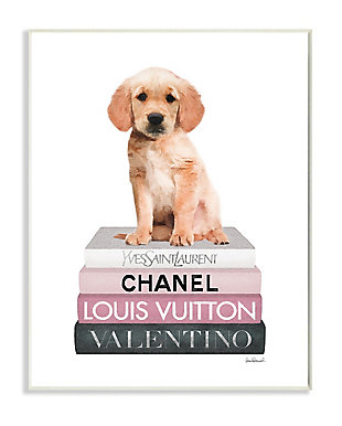 Adorable Puppy Sitting on Glam Fashion Books 13x19 Wall Plaque, White, large