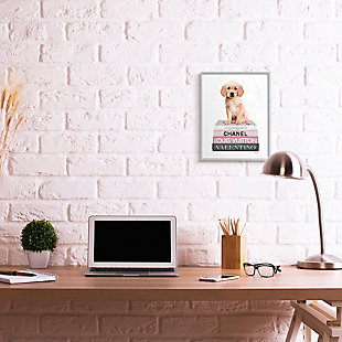 Adorable Puppy Sitting on Glam Fashion Books 16x20 Gray Frame Wall Art, White, rollover