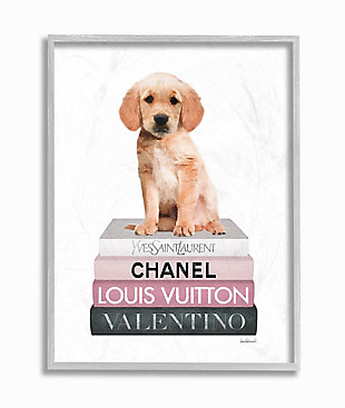Adorable Puppy Sitting on Glam Fashion Books 16x20 Gray Frame Wall Art, White, large